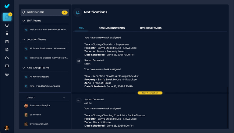 Notifications for Task Assignments & Overdue Task Warnings